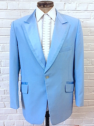 47,tall) Mens Vintage 1970's Tuxedo Jacket! Baby Blue, Satin