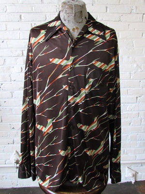 aa3cae91 (L,Tall) Vintage Mens 70s Disco Shirt! Birds Camouflaged in Stripes on  Brown!