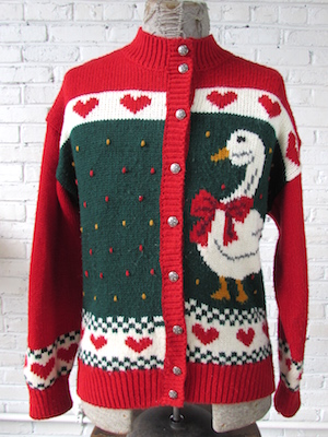 Mens M) Ugly Xmas Sweater Cardigan! Festive Goose Wearing a Bow ...
