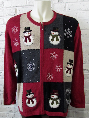 Mens 3xl Ugly Xmas Sweater Cute Snowmen Snowflakes On Patchwork