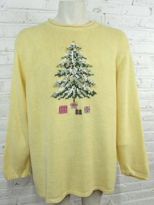 Mens 3xl Ugly Xmas Sweater Buttery Yellow Sweater W Fancy
