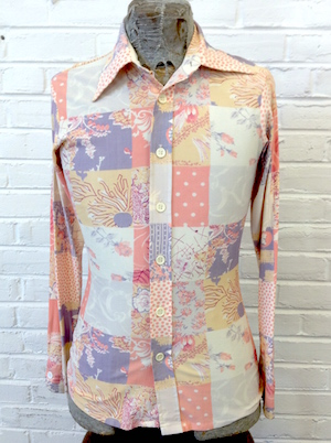 Vintage 70's Funky Disco Polyester Button Up