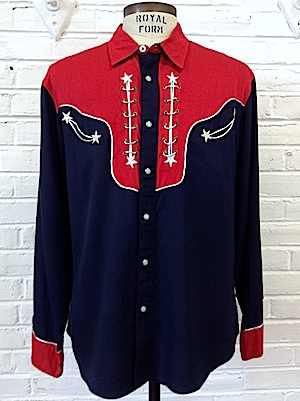 78574d03dc5 L) Mens Vintage Western Shirt! Navy & Red w/ Silver Stars & Silver ...