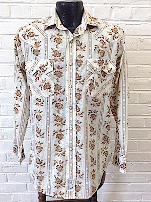 5ea2003c630 S) Mens Retro Western Shirt! Cream with Fancy Flowers & Decorative ...