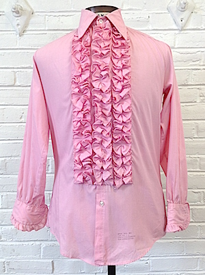 to buy new authentic modern style S) Mens 1970's Ruffled Tuxedo Shirt! Pink w/ 3 Rows of ...