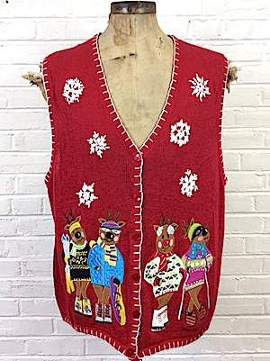 Mens Snug 4xl Ugly Xmas Sweater Vest Hip Skiing Reindeers In The