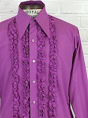 Vintage 80s Magenta Paisley Tuxedo Ruffled Cuff Collar Blouse Top XL