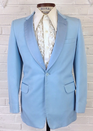 38) Mens Vintage 1970s Tuxedo Jacket  Light Sky Blue w